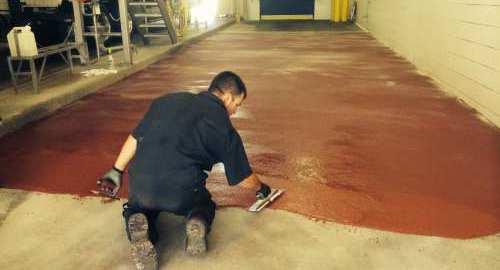 International Coatings resin-rich epoxy floor installation at a dairy in east central Colorado